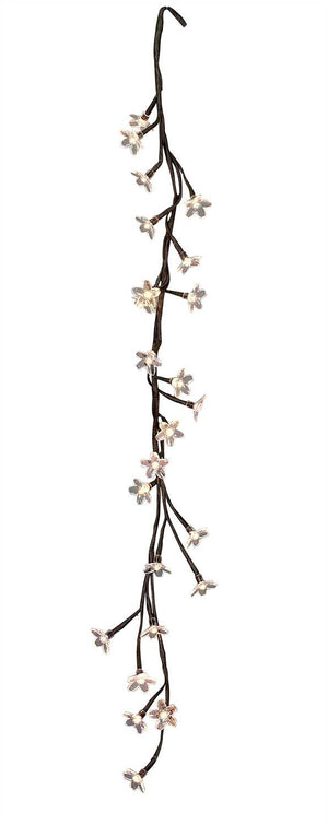 LED Battery Operated Warm White Beaded Blooming Garland