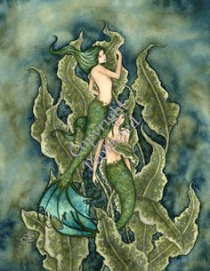 Amy Brown Water Emeralds Mermaid Print