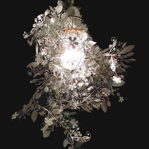 White Metal Chrome Plated Floral Garland Lamp
