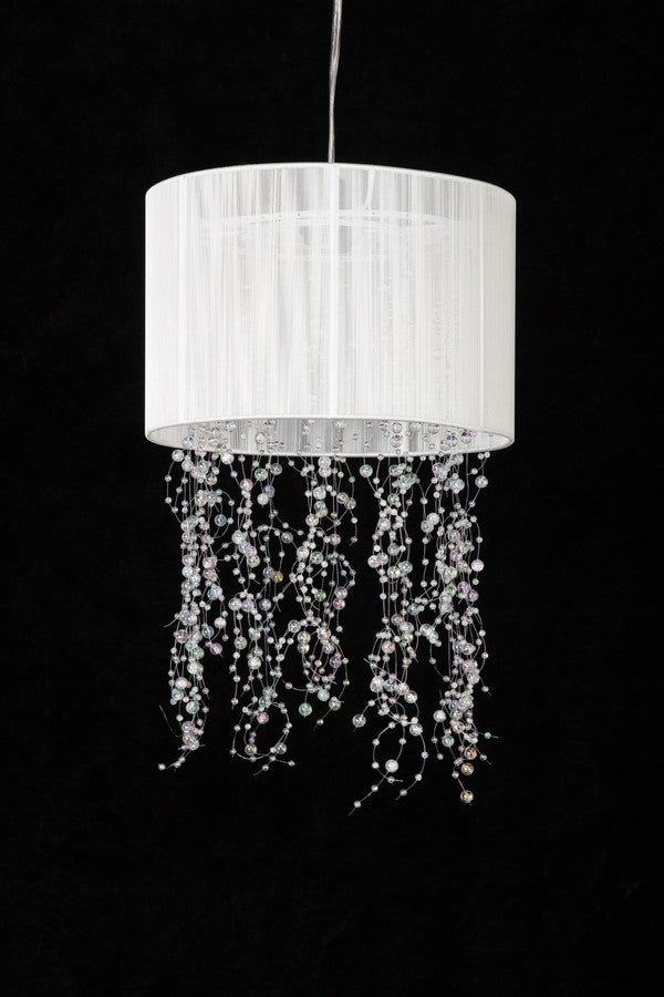 White Fabric Chandelier with Acrylic Crystal Garlands