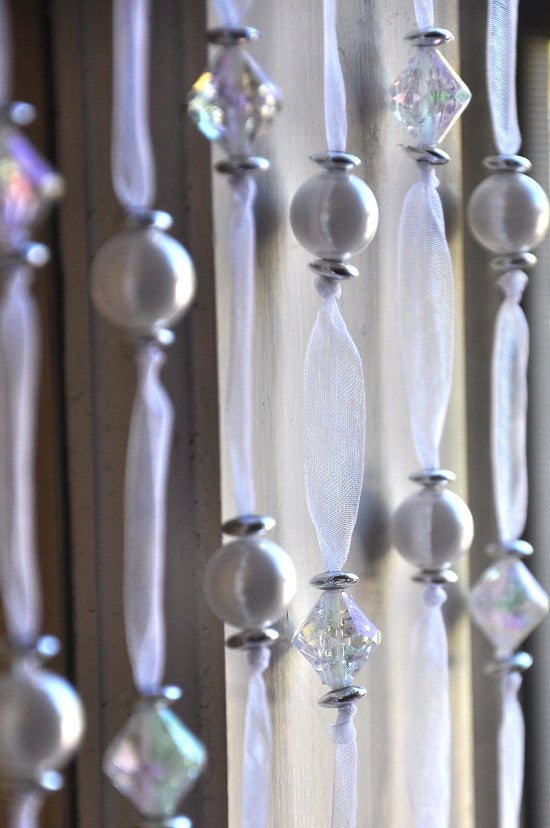 White Pearl Satin Ribbon Beaded Curtains -- Iridescent Clear Beads -- 12 Inches Wide