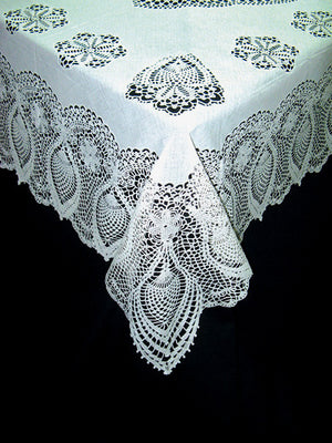 White Vinyl Lace Table Cloth -- Wedding Tablecloth