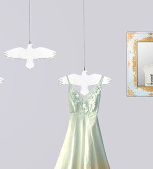 White Raven Bird on a Wire Ceiling Hanger