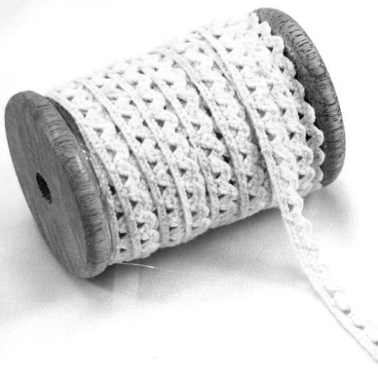 10 Yards White Lace on Wood Spool