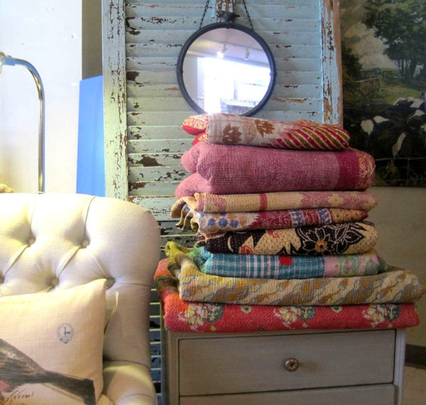 Vintage Kantha Quilt Throws, Perfect for Coachella and Burning Man Festivals, Cats love them too.
