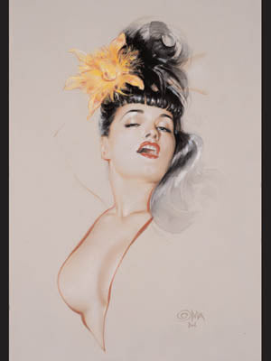 Bettie Page Wild Orchid Note Card by Olivia De Berardinis