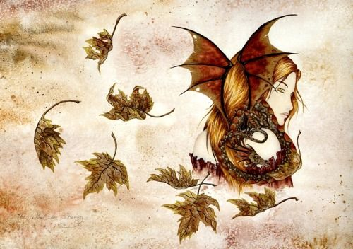 Amy Brown The Wind in Autumn Fairy Dragon Print 8 x 10