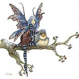 Amy Brown Winter Bird and Fairy Print