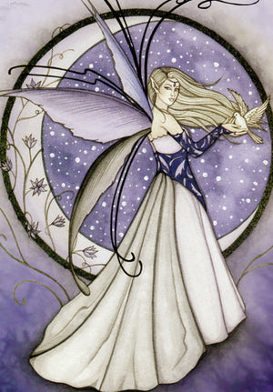 Jessica Galbreth Winter Moon Fairy Greeting Card