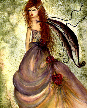 Sherri Baldy Winter Rose Fairy Greeting Card -- Hand Embellished