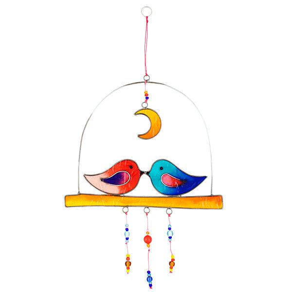 Love Birds Under a Moon Suncatcher