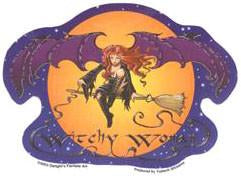 Witch Fairy Woman on Broom Sticker Decal