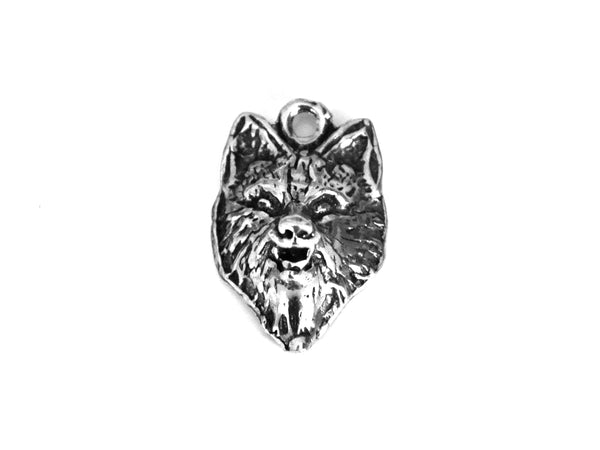 Pewter Wolf Face Pendant -- Raised Wolf Jewelry