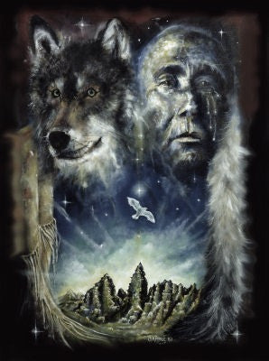 Patrick Gamble Indian Tears + Wolf  Greeting Card