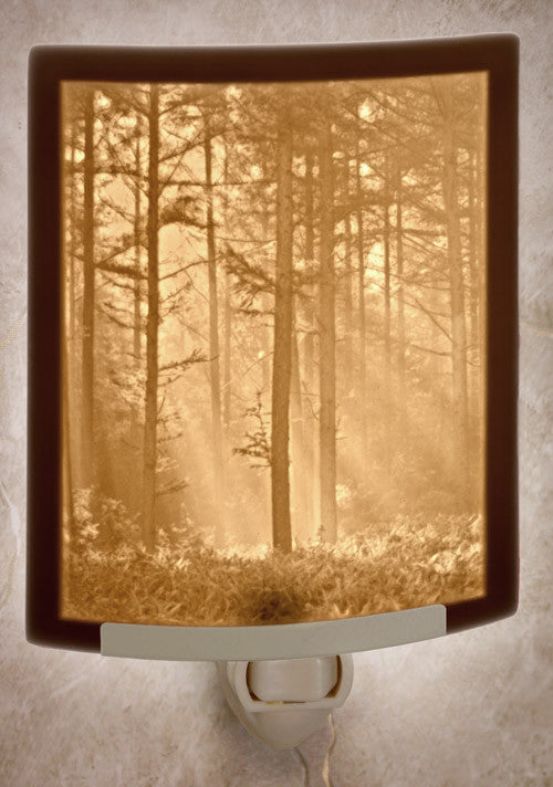 Woodland Sunbeams Porcelain Lithophane Night Light -- Curved