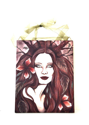 Jessica Galbreth Ceramic Tile Art -- Wood Witch