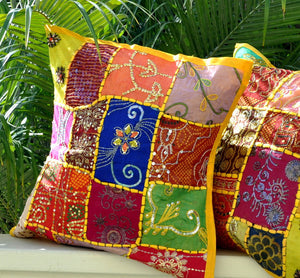 Bohemian Pillow Cover -- Yellow