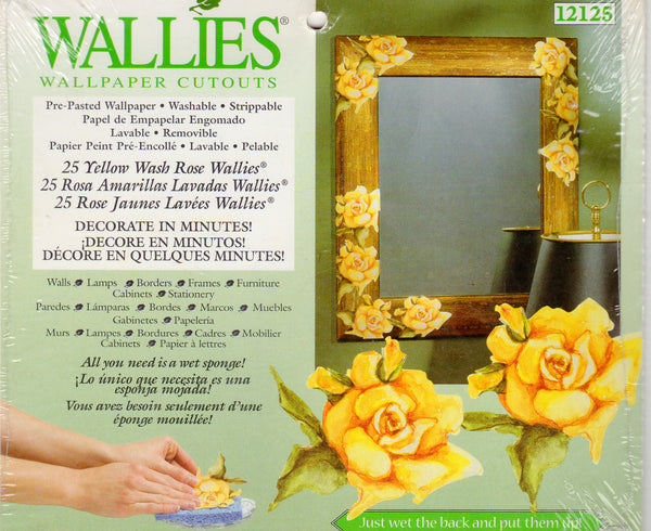 Wallies Yellow Wash Roses Wallpaper Cutouts