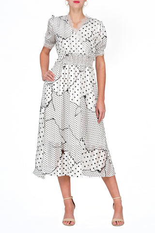 TWO PEARS-Short Sleeve Dot Print V-neck Elastic Waist Fit & Flare Dress