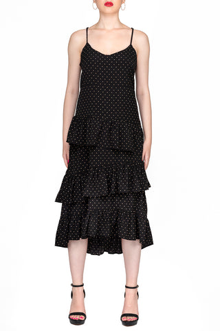 SCANDINAVIA-Spaghetti Strap Dot Print Layered Dress