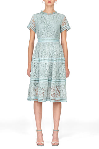 SCANDINAVIA-Short Sleeve Fit And Flare Lace A-line Dress