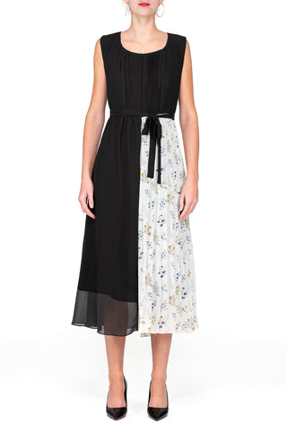 SCANDINAVIA-Sleeveless Belted Contrast Pleated Dress
