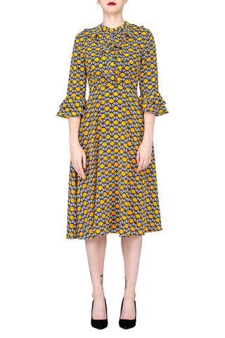 SCANDINAVIA-Long Sleeve Elastic Waist Fit & Flare Dress