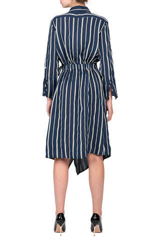 TWO PEARS-Long Sleeve Waist Belted Wrapped Surplice Dress