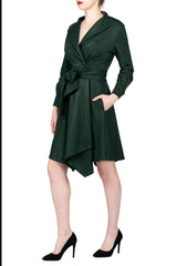 TWO PEARS-Buckle Sleeve Belted Turned Over Collar Overcoat