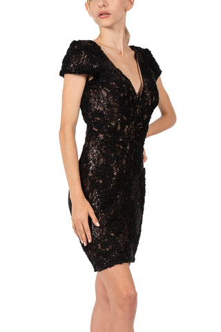 DRESS THE POPULATION-ZOE BLACK SEQUIN DRESS