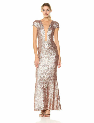 DRESS THE POPULATION-MICHELLE SEQUIN GOLD GOWN