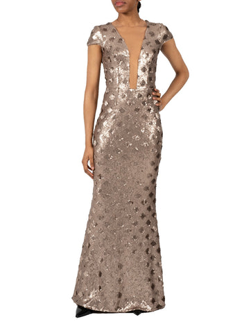 DRESS THE POPULATION-MICHELLE SEQUIN GOWN