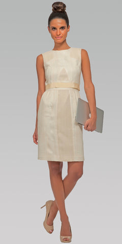 Elegant Sleeveless Shift Dress - Blonde Wood