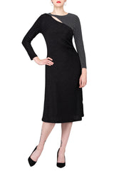 TWO PEARS-Long Sleeve Side Draped Contrast Dress