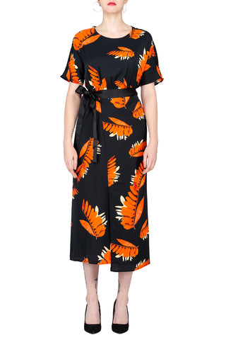 SCANDINAVIA-Leaf Motif Shirt Sleeve Wrap Dress