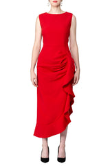 SCANDINAVIA-Sleeveless Ruffle Accent Side Draped Dress