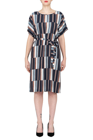 SCANDINAVIA-Short Sleeve Multicolored Belted Shift Dress