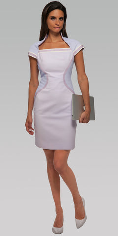 High Collar Dress w/Ragland Sleeves - Lavender Fog
