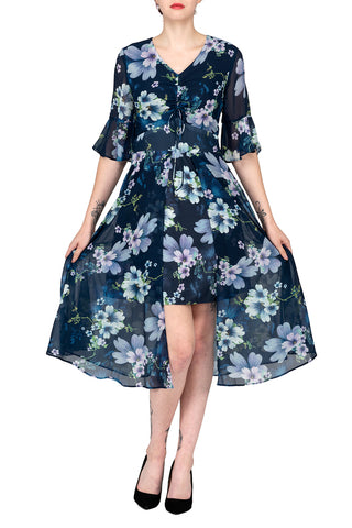 TWO PEARS-Flowy Print Dress with Drawstring