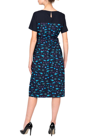 SCANDINAVIA-Short Sleeve Fish Shift Dress