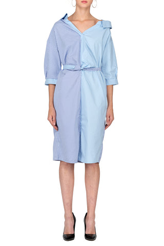 TWO PEARS-Half Sleeve Contrast Belted Draped Shirt Dress