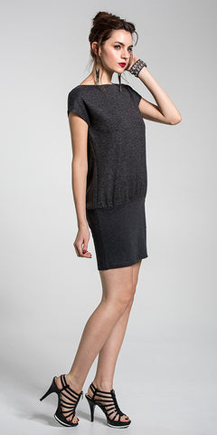 Contrast Front Boat Neck Dress