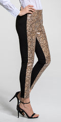 Snake Embossed Foiled Leather Front Legging
