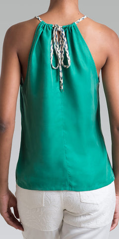 Rope Halter Slit Tank Top - Shamrock