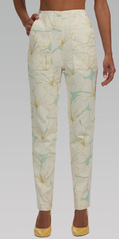High Waisted, Tailored Fit Pants - Flower Print