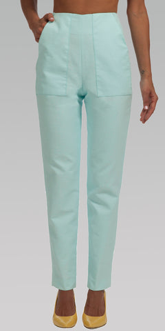 High Waisted, Tailored Fit Pants - Clearly Aqua