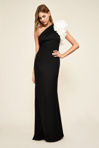 LACHLAN ONE SHOUDLER CREPE GOWN