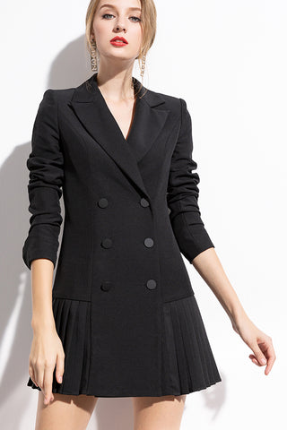 AUI-PLEATED BLAZER DRESS