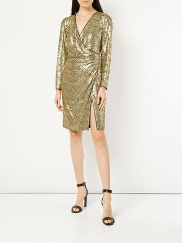 ALBERTI SEQUIN SLIT DRESS
