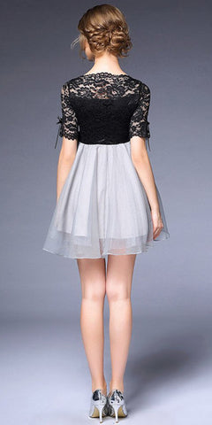 Black Lace Dress with grey shirred skirt